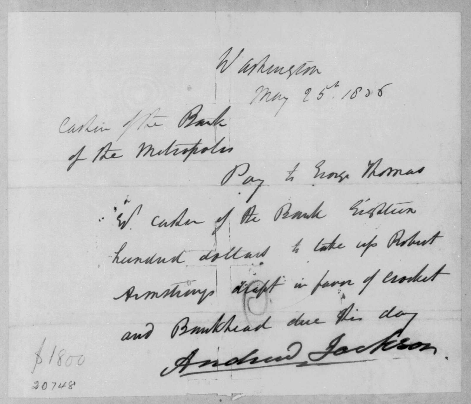 Andrew Jackson to George Thomas, May 25, 1836