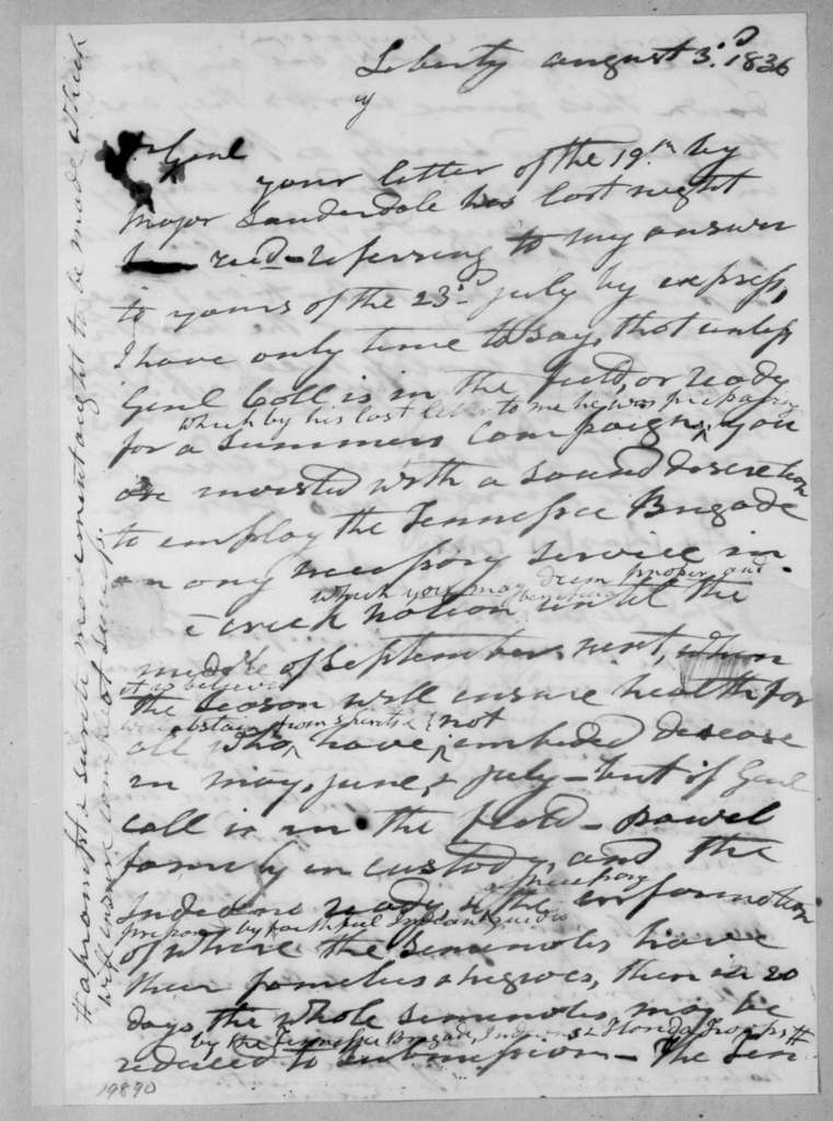 Andrew Jackson to Newton Cannon, August 3, 1836