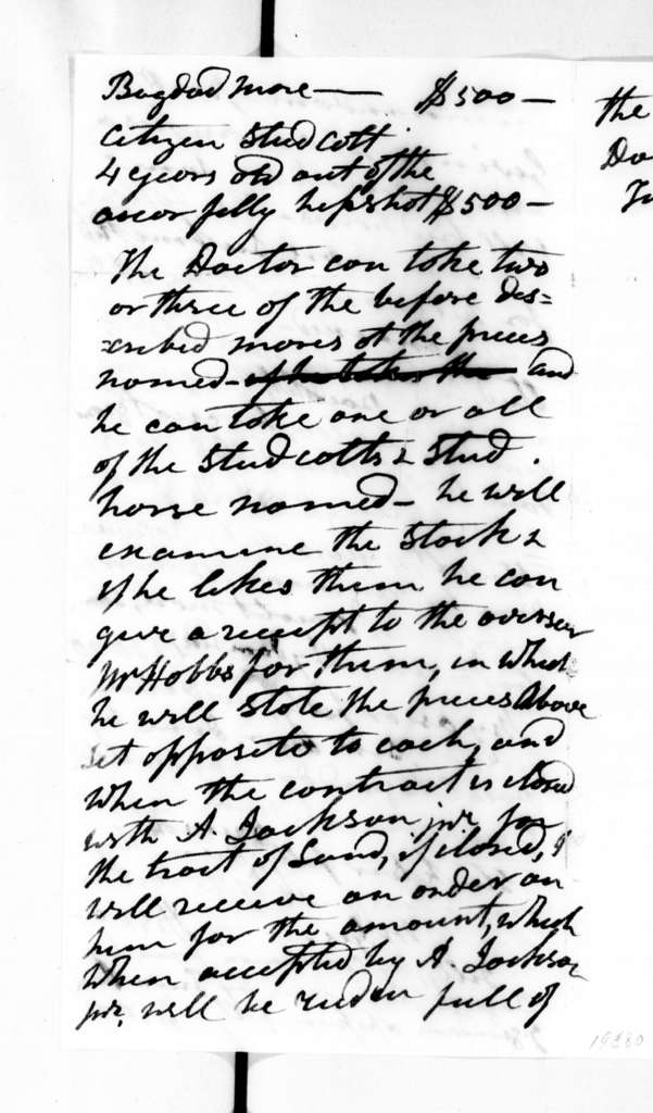 Andrew Jackson to W. N. Gwin, February 6, 1836