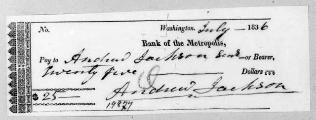 Andrew Jackson to Washington D. C. Metropolis Bank