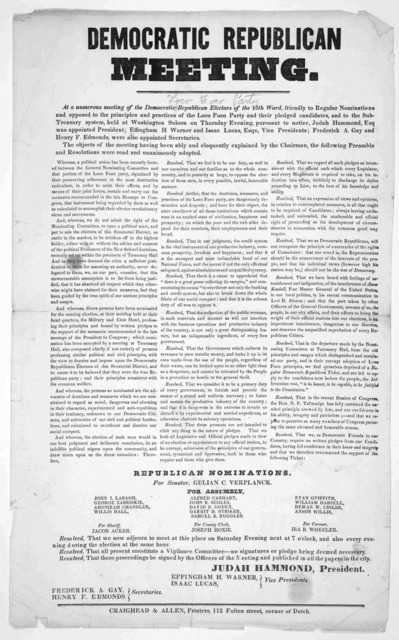At a numerous meeting of the Democratic Republican electors of the 15th ward, friendly to regular nominations and opposed to the principles and practises of the Loco Foco Party and their pledge candidates, and to the sub-treasury system held at