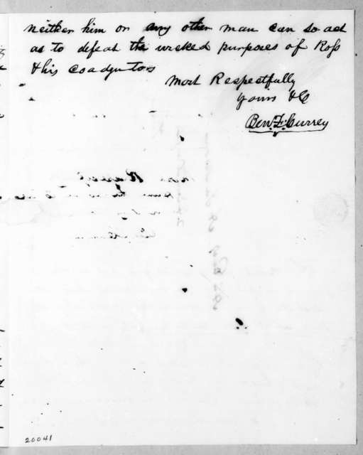 B. F. Currey to Andrew Jackson, August 30, 1836