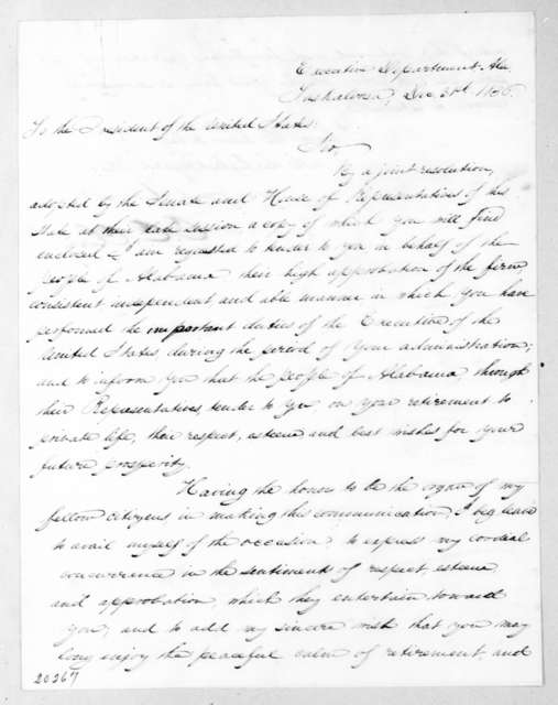 Clement Comer Clay to Andrew Jackson, December 31, 1836