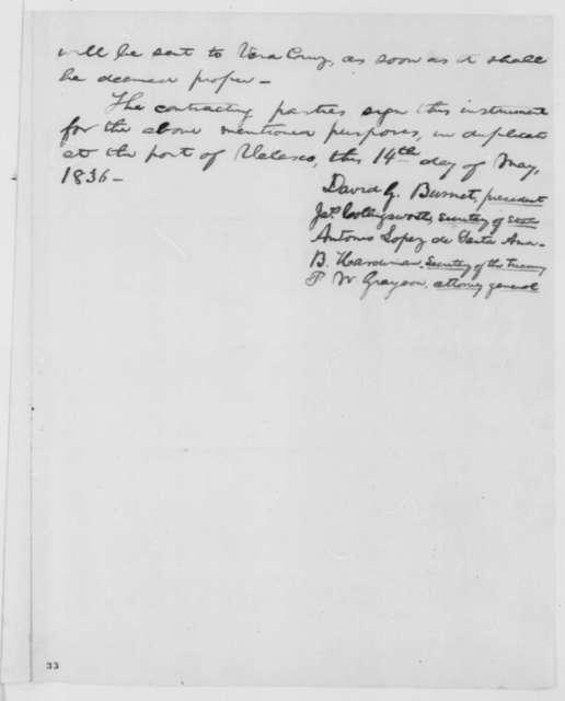 David C. Burnet, Saturday, May 14, 1836  (Treaty between Mexico and Texas; Copy by Abraham Lincoln)