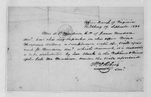 Dolley P. Madison. Fragment-Accounts and receipt in the settlement of the James Madison Estate. 1836-37.