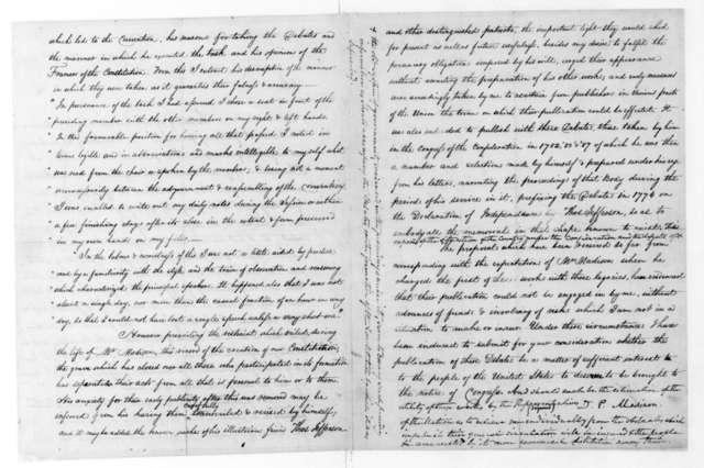 Dolley Payne Madison to Andrew Jackson, November 15, 1836.