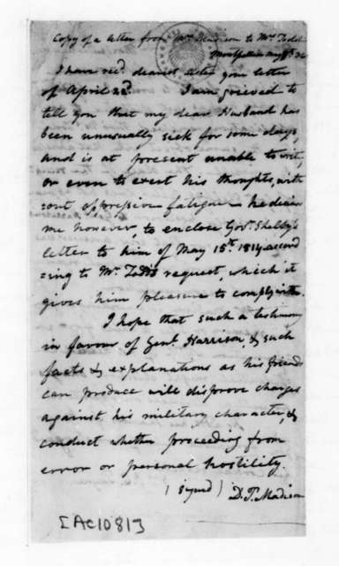 Dolley Payne Madison to Lucy Payne Todd, May 9, 1836.