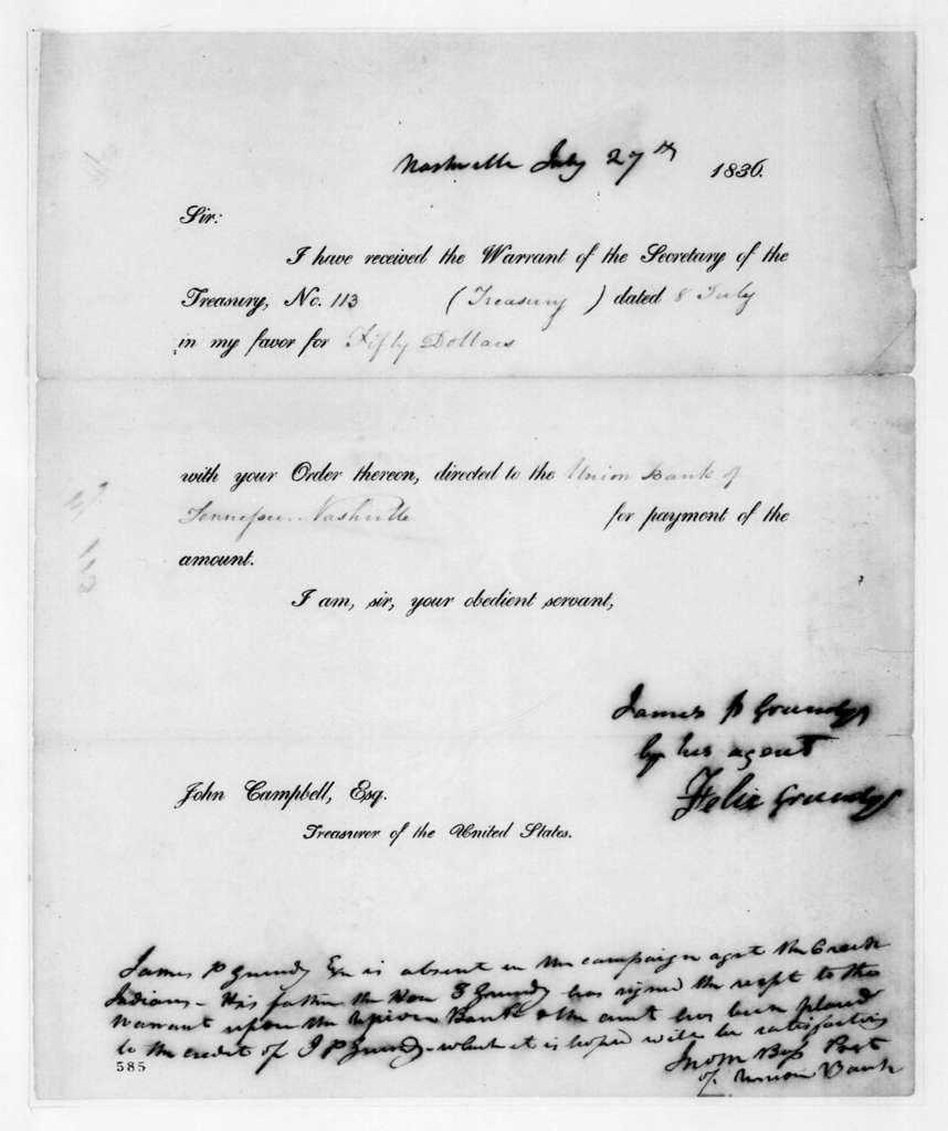 Felix Grundy to John Campbell, July 27, 1836