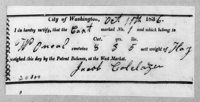 Jacob Colclazer, October 11, 1836