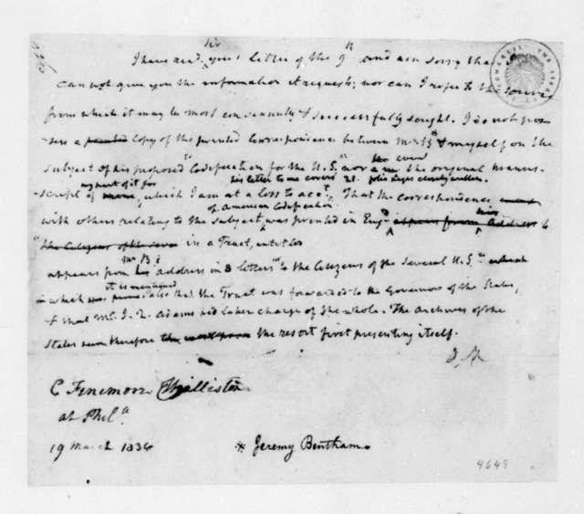 James Madison to C. Fenimore Williston, March 19, 1836.