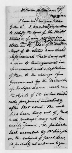 James Madison to C. Fenimore Williston, May 13, 1836.