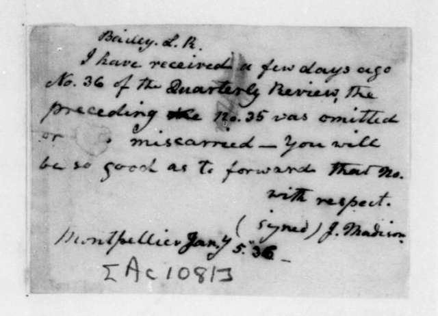 James Madison to L. R. Bailey, January 5, 1836.
