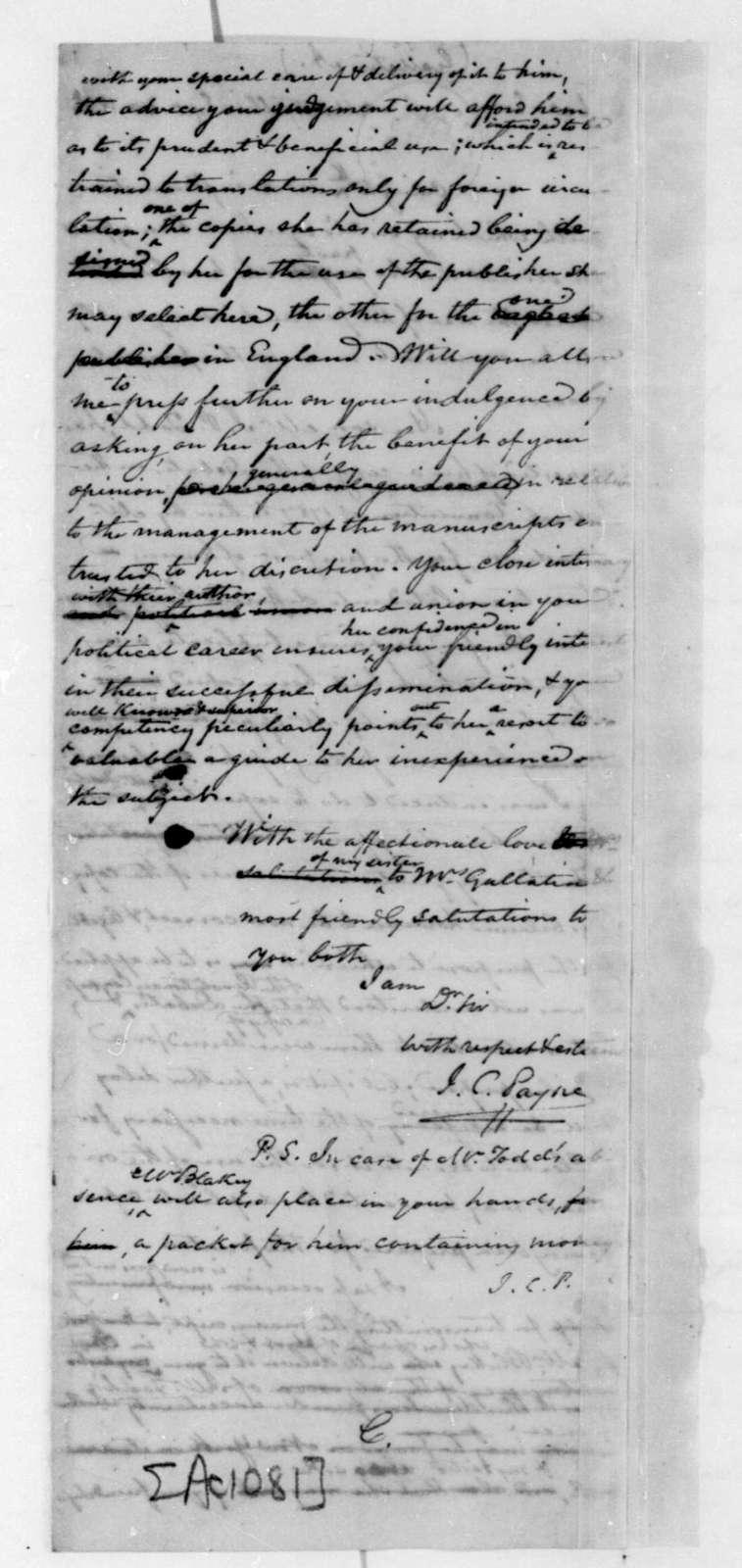 John C. Payne to Albert Gallatin, September 30, 1836.