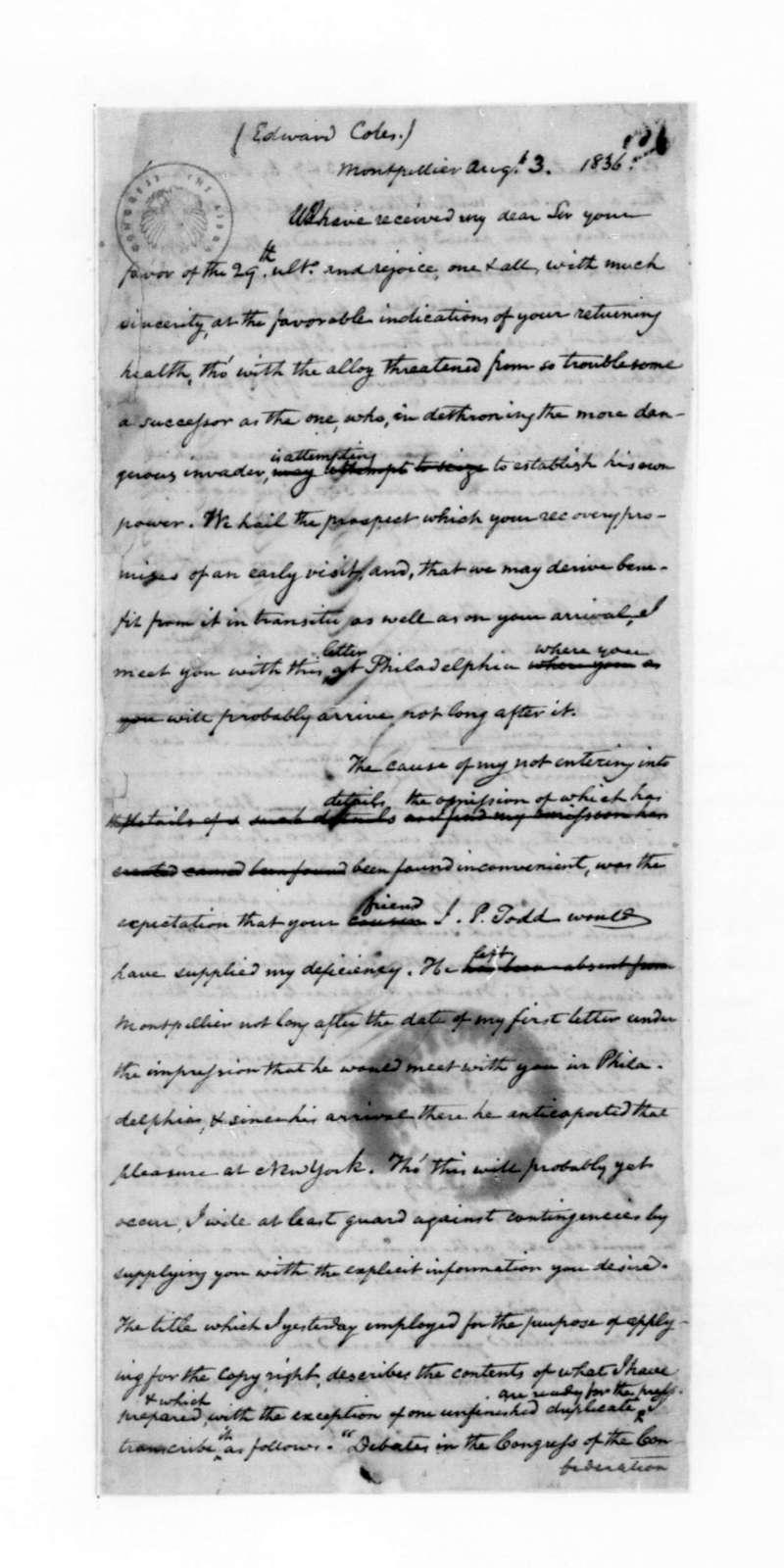 John C. Payne to Edward Coles, August 3, 1836.