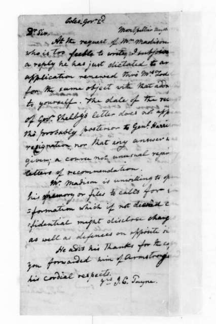 John C. Payne to Edward Coles, May 10, 1836. Verso of Dolley Payne Madison letter May 9, 1836.