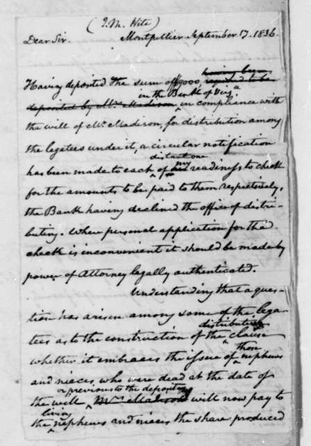 John C. Payne to J. M. Hite, September 17, 1836.