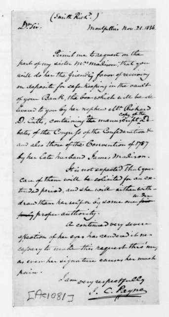 John C. Payne to Richard Smith, November 21, 1836.
