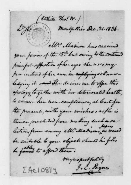 John C. Payne to Thomas W. White, December 21, 1836.