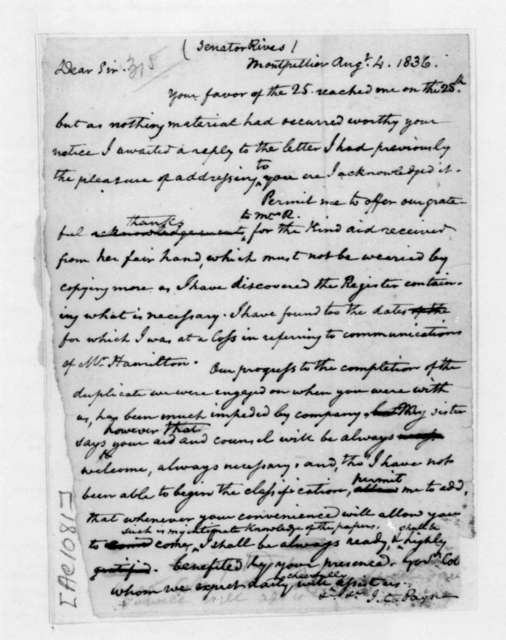 John C. Payne to William C. Rives, August 4, 1836.