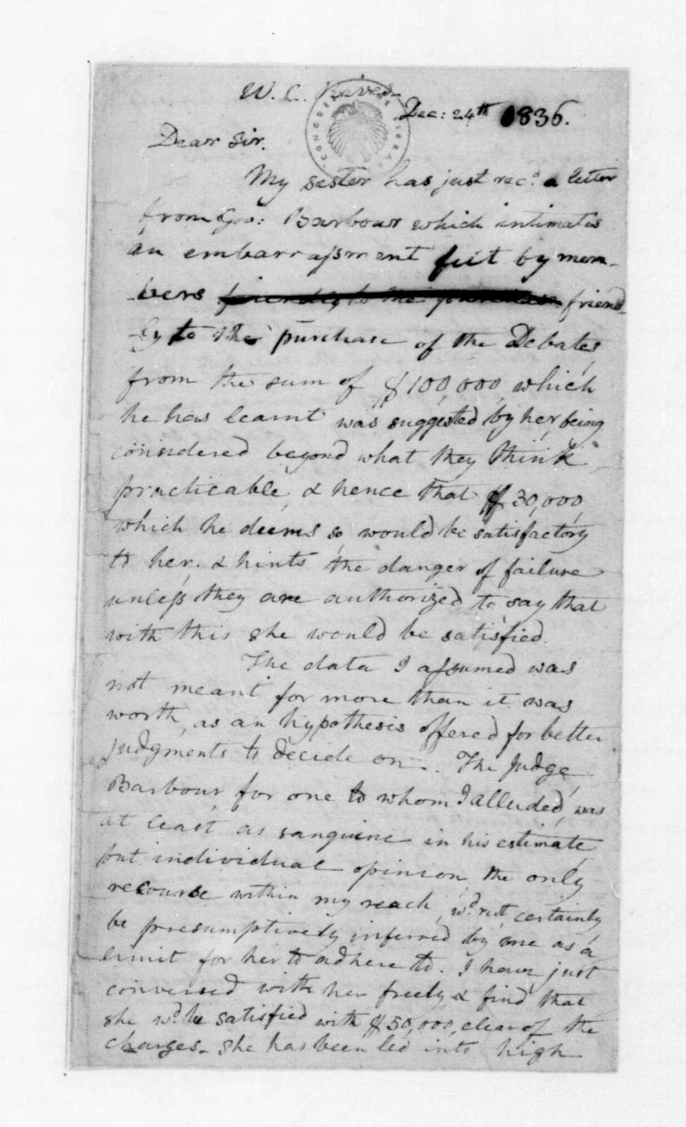John C. Payne to William C. Rives, December 24, 1836.