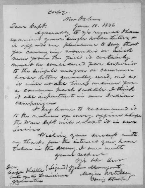 John Momfort to H. L. Thistle, June 18, 1836