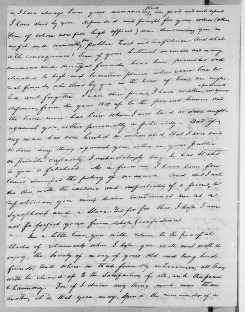 John W. Overton to Andrew Jackson, August 4, 1836