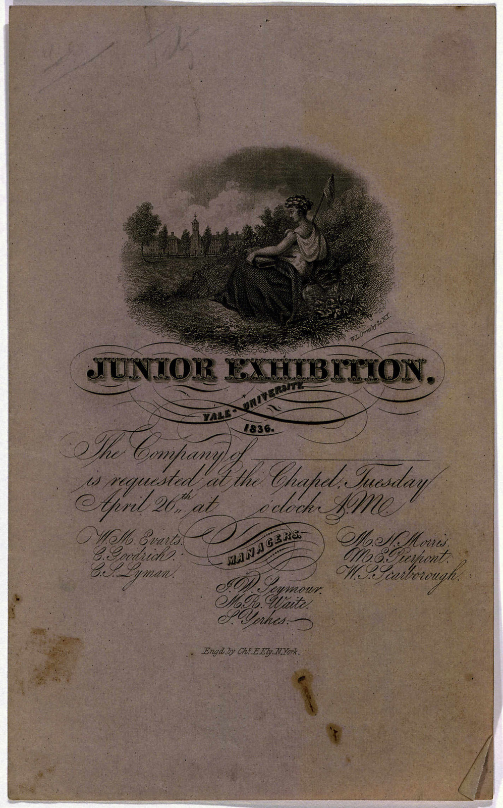 Junior exhibition. Yale University 1836 .... Engd by Chs. E. Ely, N. York [s. l., 1836].
