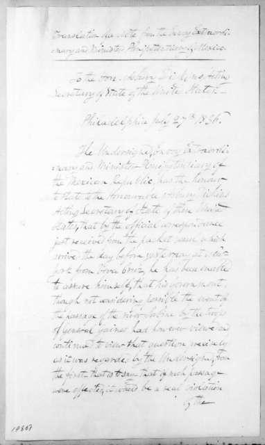 Manuel E. De Gorostiza to Asbury Dickins, July 27, 1836