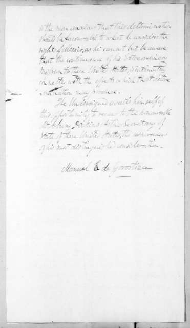 Manuel E. De Gorostiza to Asbury Dickins, July 27, 1836