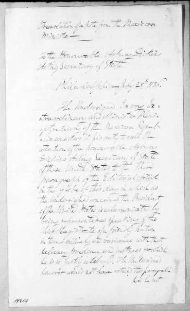 Manuel E. De Gorostiza to Asbury Dickins, July 28, 1836