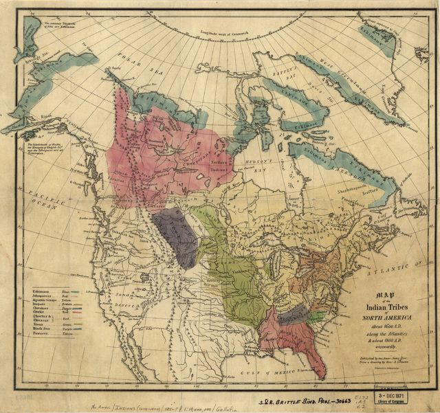 Map of the Indian tribes of North America, about 1600 A.D. along the Atlantic, & about 1800 A.D. westwardly /