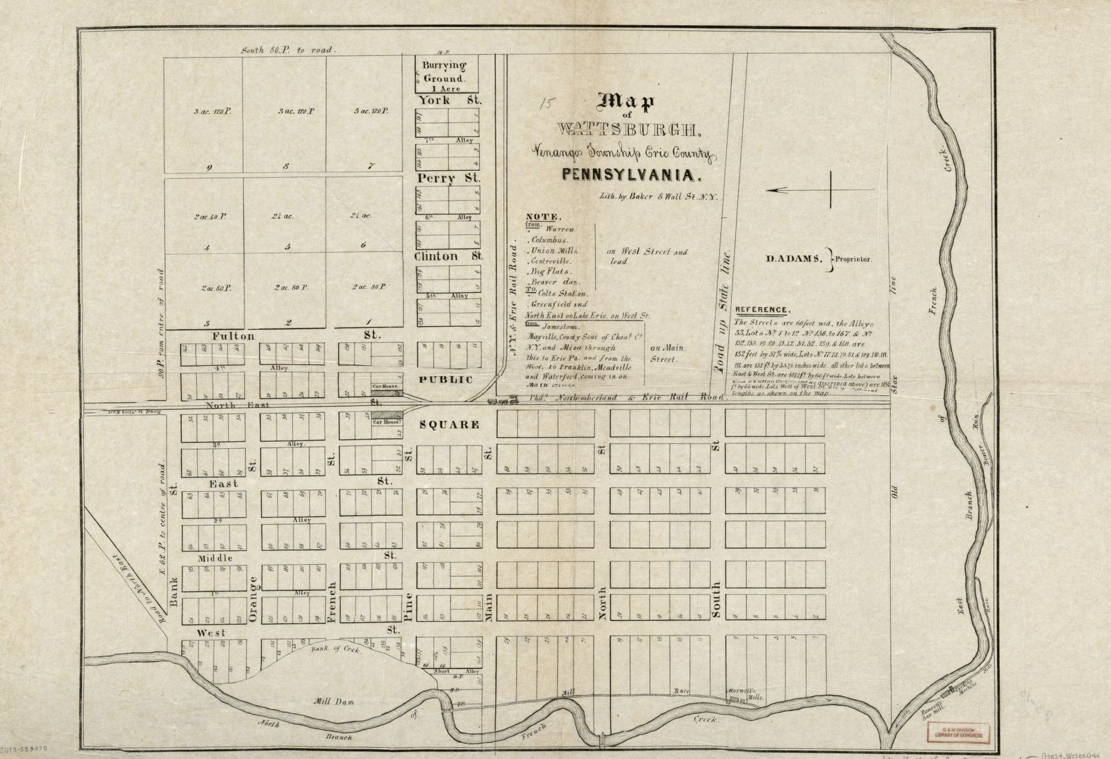 Map of Wattsburgh, Venango Township, Erie County, Pennsylvania ... Map Of Erie County Pa on