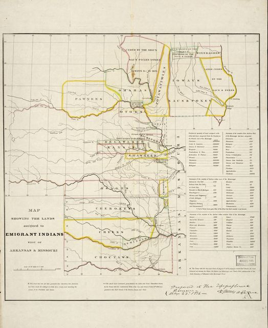 Map showing the lands assigned to emigrant Indians west of Arkansas and Missouri.
