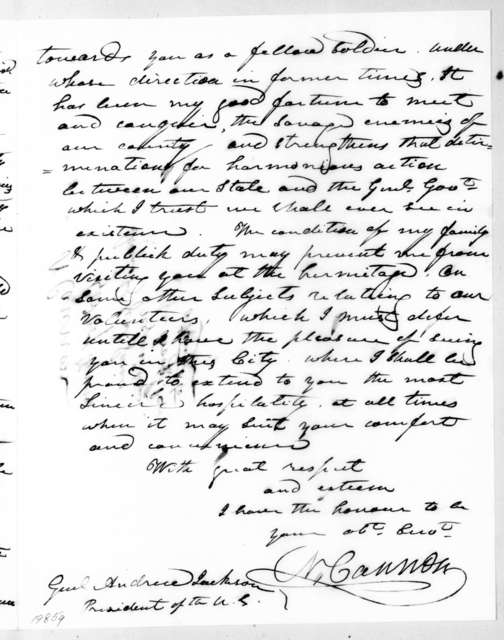 Newton Cannon to Andrew Jackson, July 29, 1836