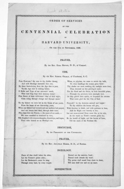 Order of services at the Centennial celebration of Harvard University, on the 8th of September, 1836.