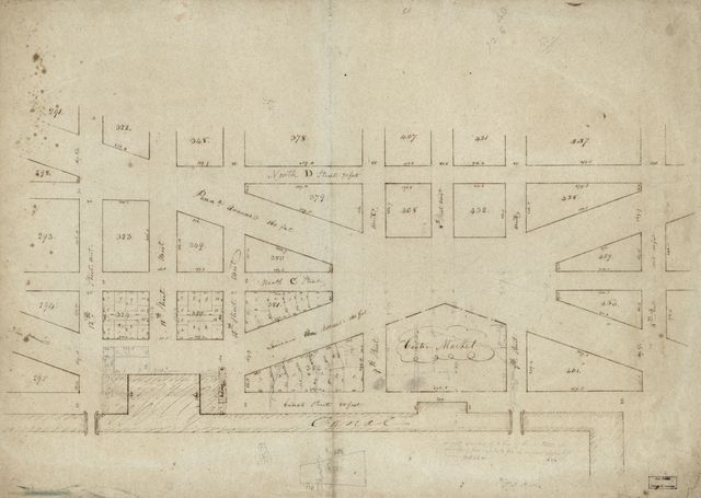 [Partial cadastral map of the district around the Center Market, N.W. Washington D.C.].