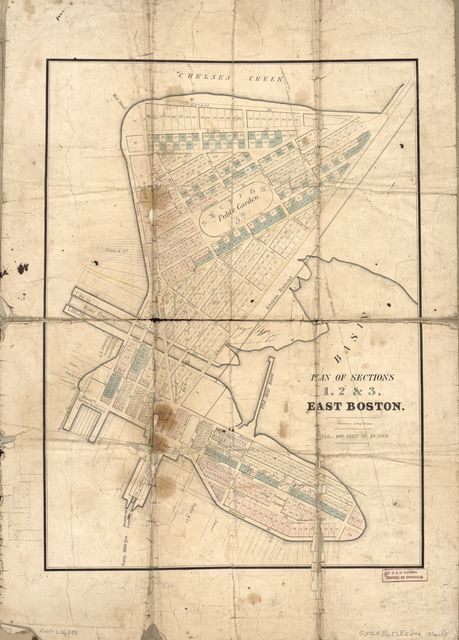 Plan of sections 1, 2 & 3, East Boston.