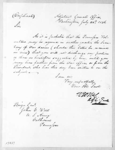R. Jones to John E. Woll, July 22, 1836