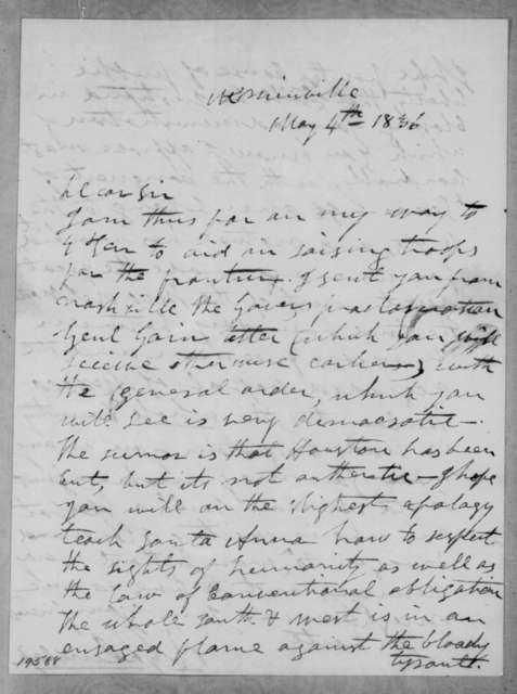 Richard Gilliam Dunlap to Andrew Jackson, May 4, 1836