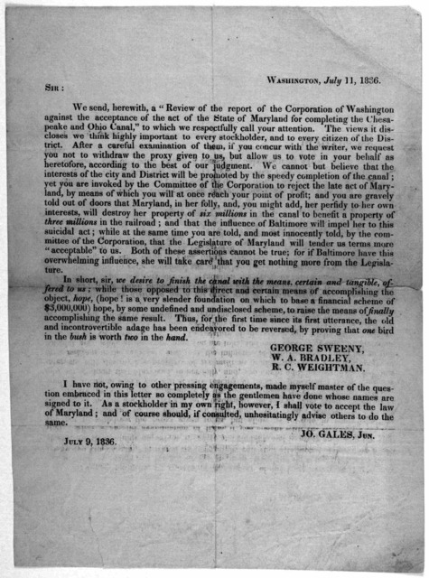 "Sir: We send, herewith, a ""Review of the report of the Corporation of Washington against the acceptance of the act of the State of Maryland for completing the Chesapeake and Ohio Canal"" to which we respectfully call your attention ... Washington"