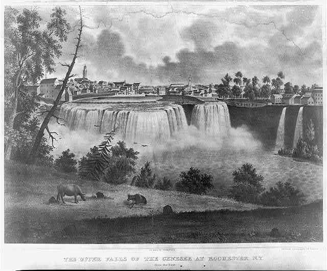 The upper falls of the Genesee at Rochester, N.Y., from the east / J. Young, del., from nature ; on stone by J.H. Bufford.