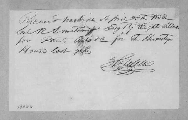 Thomas Wells to Robert Armstrong, April 25, 1836