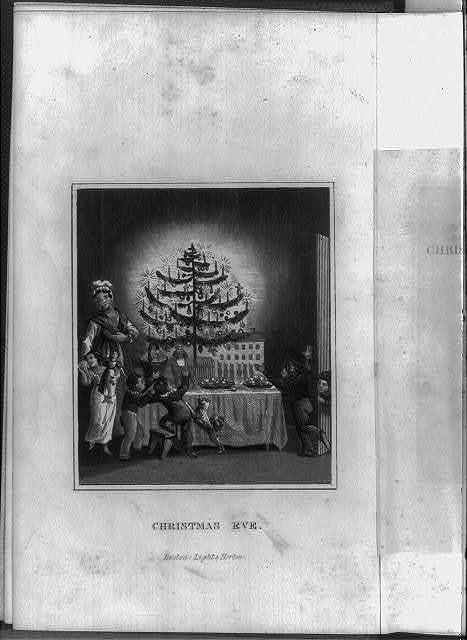 """[Title page and frontis. of The Stranger's Gift, Boston, 1836 (Hermann Bokum, ed.): frontis, showing children around tree lighted with candles on table full of toys; titled """"Christmas Eve""""]"""