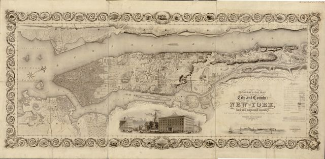 Topographical map of the city and county of New-York, and the adjacent country : with views in the border of the principal buildings, and interesting scenery of the island.