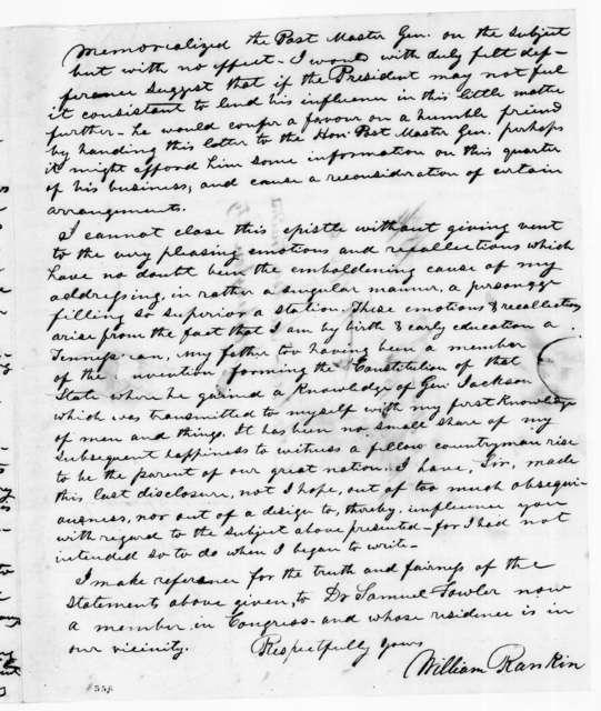 William Rankin to Andrew Jackson, January 6, 1836