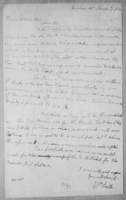 William Smith to Thomas Ritchie, November 7, 1836