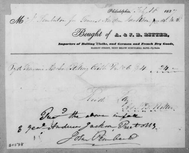 A. & J. B. Ritter to Andrew Jackson, February 18, 1837
