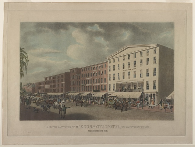A south east view of Merchants Hotel, nth Fourth St. Philada, J.M. Sanderson & Son / drawn and engraved by J.R. Smith, Philada.