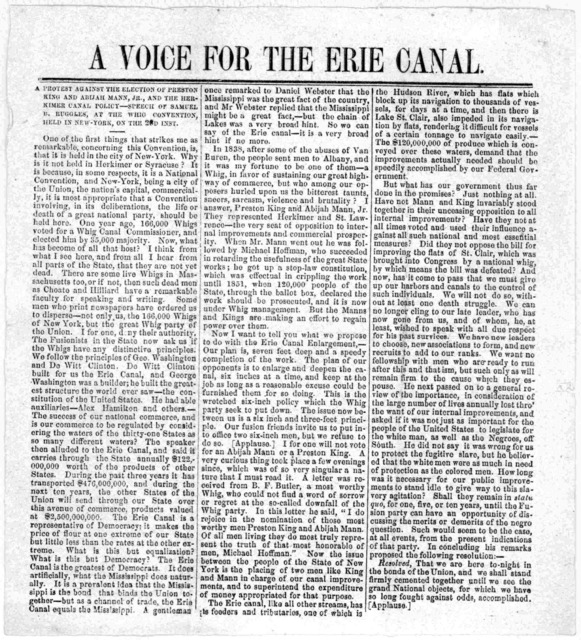 A voice for the Erie canal. A protest against the election of Preston King and Abijah Mann, Jr., and the Herkimer canal policy -- Speech of Samuel B. Ruggles, at the Whig convention, held in New York, on the 23d inst. [1837?].