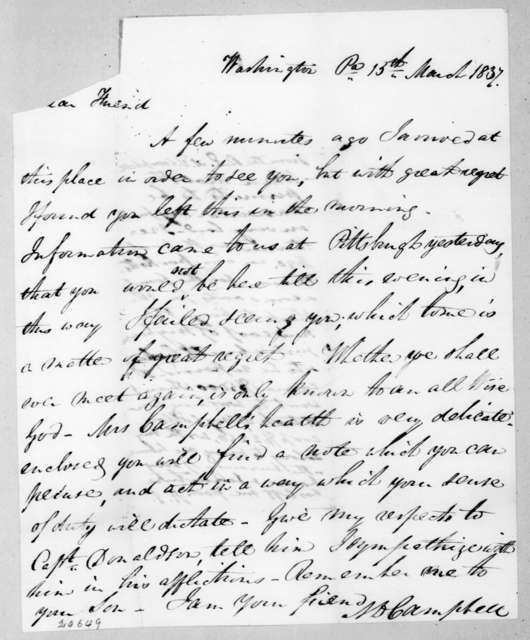 Allan Ditchfield Campbell to Andrew Jackson, March 15, 1837